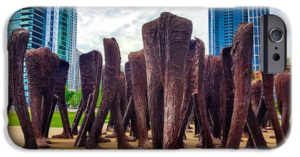 Sears Tower Sculptures iPhone Cases - Stroll in the park. iPhone Case by Britten Adams