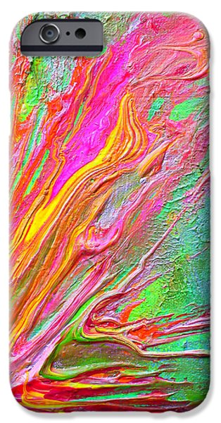 Abstract Digital Paintings iPhone Cases - Structure 302 iPhone Case by Pamela Lukrecja