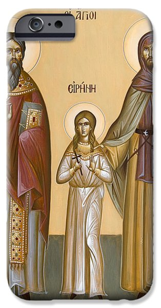 St Nicholas Icon iPhone Cases - Sts Raphael Nicholas and Irene iPhone Case by Julia Bridget Hayes