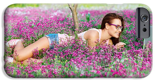 Nature Study iPhone Cases - Student girl in the park iPhone Case by Anna Omelchenko