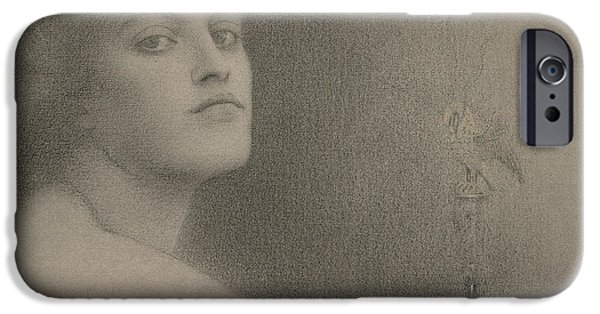 20th Drawings iPhone Cases - Study for The Offering iPhone Case by Fernand Khnopff