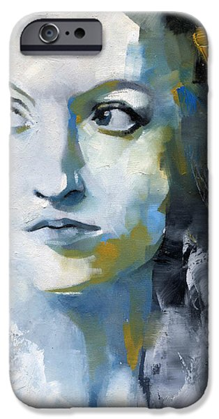 Portraits Female Paintings iPhone Cases - Study in Blue and Ochre iPhone Case by Patricia Ariel