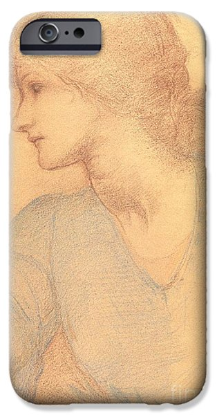 Model Drawings iPhone Cases - Study in Colored Chalk iPhone Case by Sir Edward Burne-Jones