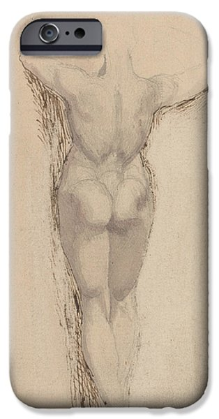 Swiss Drawings iPhone Cases - Study of a Back of a Female Nude Standing iPhone Case by Henry Fuseli
