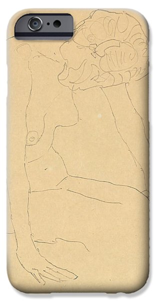 Nature Study Drawings iPhone Cases - Study of a Female Nude iPhone Case by Gustav Klimt