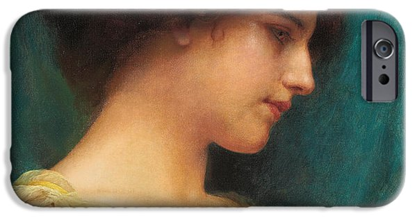 Hairstyle iPhone Cases - Study of a Girls Head iPhone Case by John William Godward