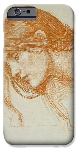 Hair Drawings iPhone Cases - Study of a Girls Head iPhone Case by John William Waterhouse