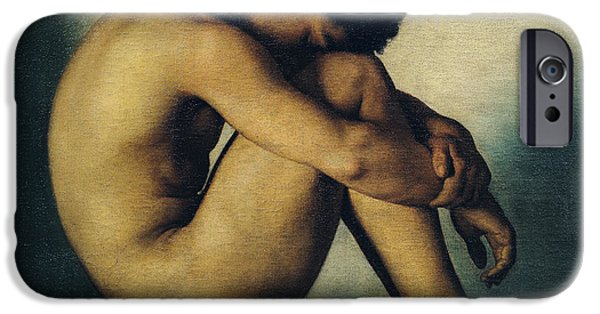 Rest Paintings iPhone Cases - Study of a Nude Young Man iPhone Case by Hippolyte Flandrin