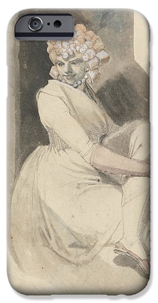 Swiss Drawings iPhone Cases - Study of a Seated Woman iPhone Case by Henry Fuseli