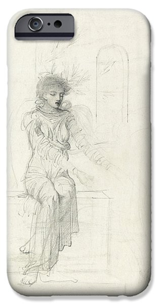 Piano Drawings iPhone Cases - Study of a seated woman iPhone Case by John Melhuish Strudwick
