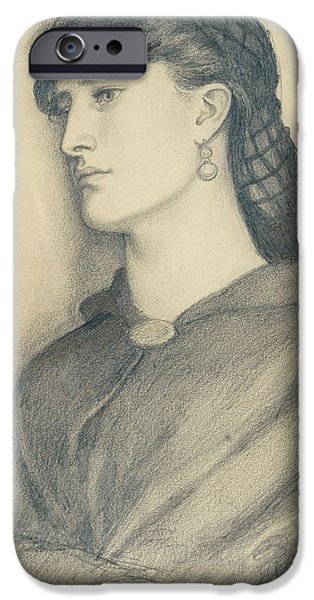 Study iPhone Cases - Study of Aggie Manetti  iPhone Case by Dante Gabriel Charles Rossetti