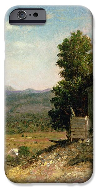 New England Landscapes iPhone Cases - Study of Old Barn in New Hampshire iPhone Case by George Loring Brown