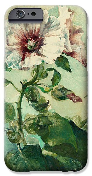 Nature Study Paintings iPhone Cases - Study of Pink Hollyhocks in Sunlight iPhone Case by Celestial Images
