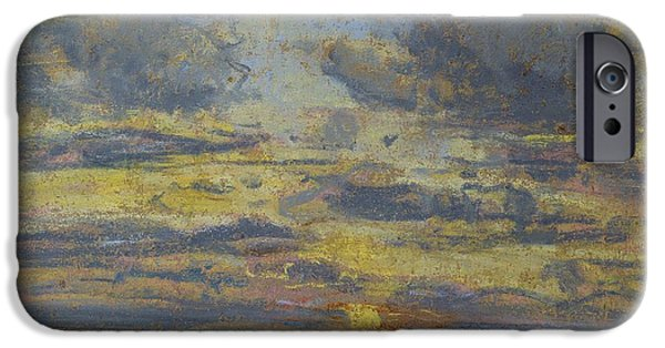 Sunset Pastels iPhone Cases - Study of the Sky with Setting Sun iPhone Case by Eugene Louis Boudin