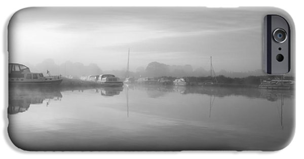 Boat iPhone Cases - Stunning foggy Summer sunrise over peaceful river landscape in b iPhone Case by Matthew Gibson