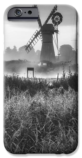 Boat iPhone Cases - Stunning landscape of windmill and river at dawn in black and wh iPhone Case by Matthew Gibson