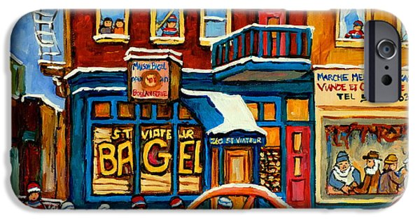 Mood Paintings iPhone Cases - St.viateur Bagel Hockey Montreal iPhone Case by Carole Spandau