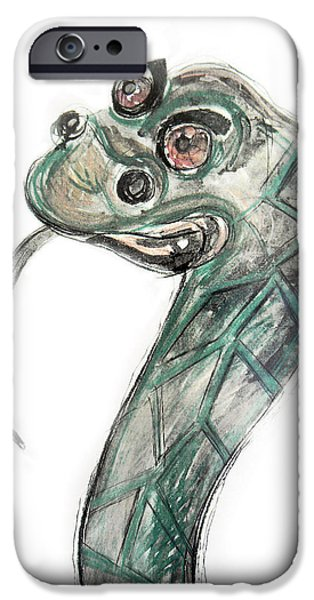 Animal Drawings iPhone Cases - Stylized Original Illustration of Kaa iPhone Case by Marian Voicu