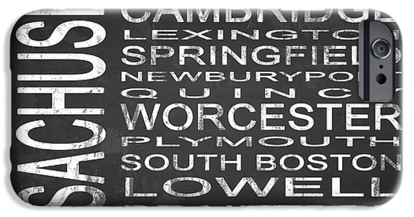 City. Boston iPhone Cases - SUBWAY Massachusetts State Square iPhone Case by Melissa Smith