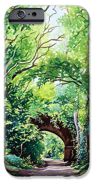 Green Foliage iPhone Cases - Sudbury Bridge and Trees iPhone Case by Christopher Ryland