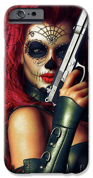 Red-haired Women iPhone Cases - Sugar Doll Long Night of the Dead iPhone Case by Shanina Conway
