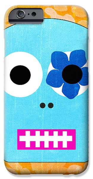Fall iPhone Cases - Sugar Skull Blue and Orange iPhone Case by Linda Woods