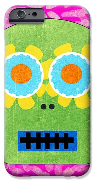 Corporate Art iPhone Cases - Sugar Skull Green and Pink iPhone Case by Linda Woods