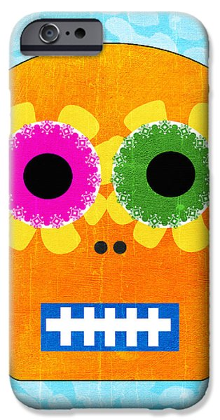 Corporate Art iPhone Cases - Sugar Skull Orange and Blue iPhone Case by Linda Woods