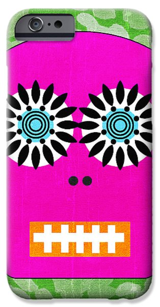 Corporate Art iPhone Cases - Sugar Skull Pink and Green iPhone Case by Linda Woods