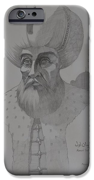 Watercolour Portrait iPhone Cases - Suliman the Magnificent iPhone Case by Ray Agius