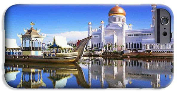 Nation iPhone Cases - Sultan Omar Ali Saifuddien Mosque iPhone Case by David Kirkland