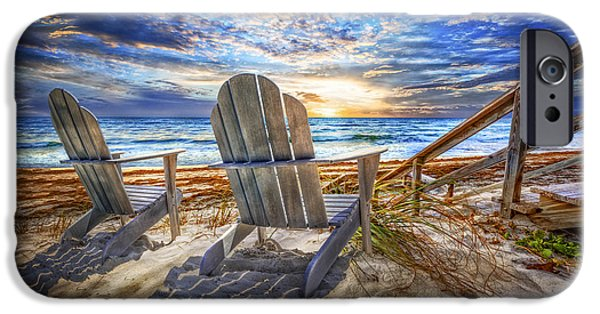 Adirondack Chairs On The Beach iPhone Cases - Summer at the Shore iPhone Case by Debra and Dave Vanderlaan