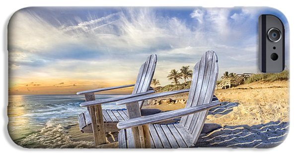 Adirondack Chairs On The Beach iPhone Cases - Summer Dreaming iPhone Case by Debra and Dave Vanderlaan