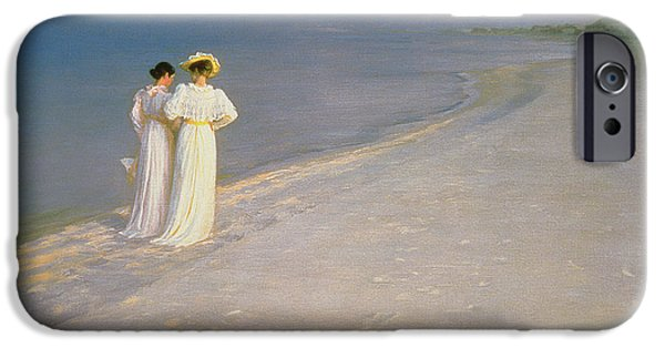 Friend iPhone Cases - Summer Evening on the Skagen Southern Beach with Anna Ancher and Marie Kroyer iPhone Case by Peder Severin Kroyer