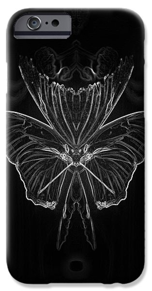 Abstract Digital Mixed Media iPhone Cases - Summer Floral With Butterfly Mirror Image BW Vertical iPhone Case by Thomas Woolworth