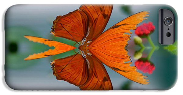 Abstract Digital Mixed Media iPhone Cases - Summer Floral With Butterfly Mirror Image iPhone Case by Thomas Woolworth