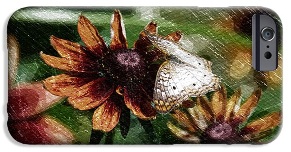 Abstract Digital Mixed Media iPhone Cases - Summer Floral With Butterfly PA 02 iPhone Case by Thomas Woolworth