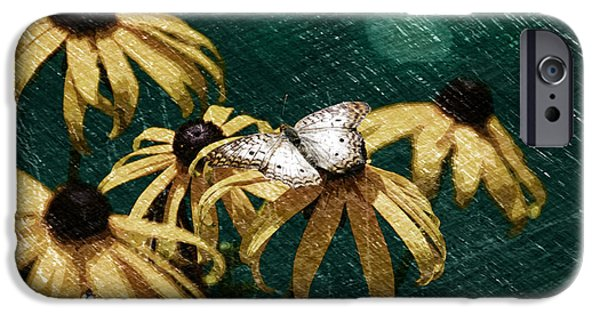 Abstract Digital Mixed Media iPhone Cases - Summer Floral With Butterfly PA 04 iPhone Case by Thomas Woolworth