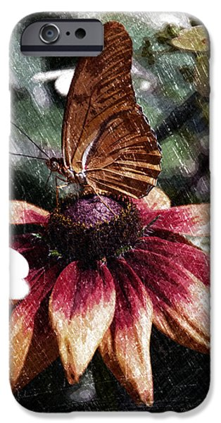 Abstract Digital Mixed Media iPhone Cases - Summer Floral With Butterfly PA 06 Vertical  iPhone Case by Thomas Woolworth