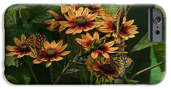 Abstract Digital Mixed Media iPhone Cases - Summer Floral With Monarch Butterflies PA 01 iPhone Case by Thomas Woolworth