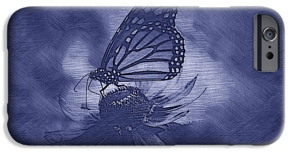 Invertebrates Mixed Media iPhone Cases - Summer Floral With Monarch Butterfly 02 Blue iPhone Case by Thomas Woolworth