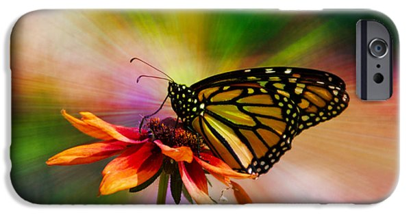 Invertebrates Mixed Media iPhone Cases - Summer Floral With Monarch Butterfly 03 Prism iPhone Case by Thomas Woolworth