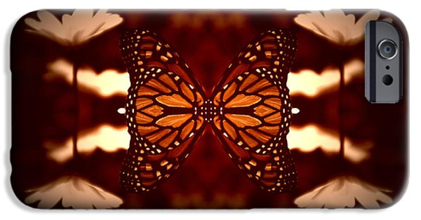 Abstract Digital Mixed Media iPhone Cases - Summer Floral With Monarch Butterfly Mirror Image iPhone Case by Thomas Woolworth