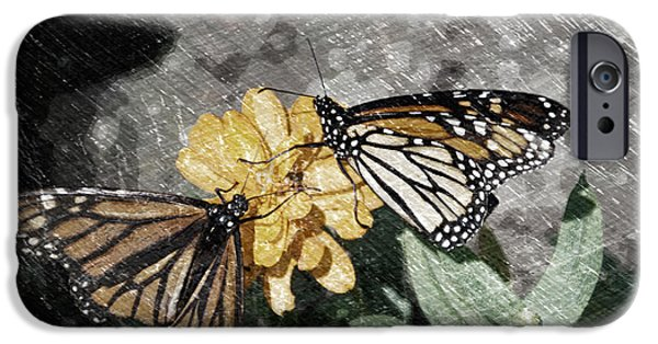 Abstract Digital Mixed Media iPhone Cases - Summer Floral With Monarch Butterfly PA 03 iPhone Case by Thomas Woolworth