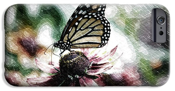 Abstract Digital Mixed Media iPhone Cases - Summer Floral With Monarch Butterfly PA 04 iPhone Case by Thomas Woolworth