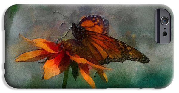 Abstract Digital Mixed Media iPhone Cases - Summer Floral With Monarch Butterfly PA 05 iPhone Case by Thomas Woolworth
