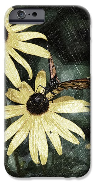 Abstract Digital Mixed Media iPhone Cases - Summer Floral With Monarch Butterfly PA 09 Vertical iPhone Case by Thomas Woolworth