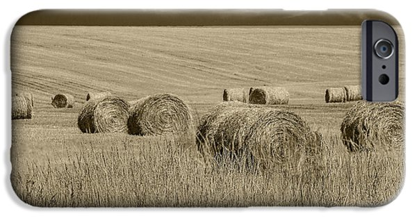 Snake iPhone Cases - Summer Harvest Field with Hay Bales in Sepia iPhone Case by Randall Nyhof