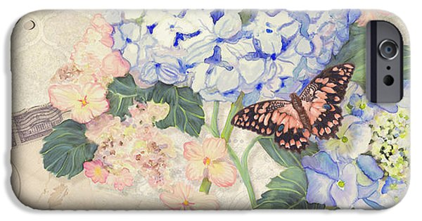 Blossom Mixed Media iPhone Cases - Summer Memories - Blue Hydrangea n Butterflies Faith Hope and Love iPhone Case by Audrey Jeanne Roberts
