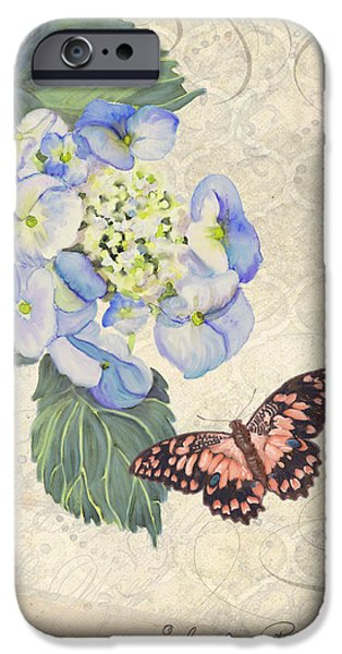 Blossom Mixed Media iPhone Cases - Summer Memories - Blue Hydrangea n Butterfly iPhone Case by Audrey Jeanne Roberts
